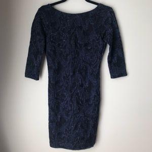 ZARA TRAFALUC SPARKLY 3/4 SLEEVE SCOOP DRESS